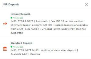 INR Deposit wazirx